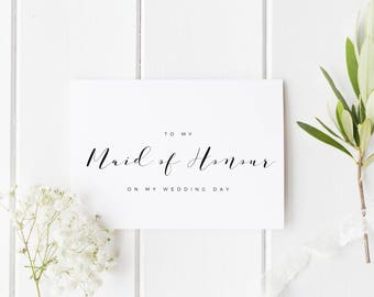 To My Maid Of Honor Card, Maid Of Honour Thank You Card, To My Maid Of Honour On My Wedding Day Card, Thank You Maid of Honour Card,