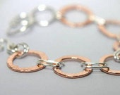 Rustic Fused Copper and Sterling Chain Bracelet, Hammered Copper Bracelet, Mixed Metal Copper and Silver Link Bracelet