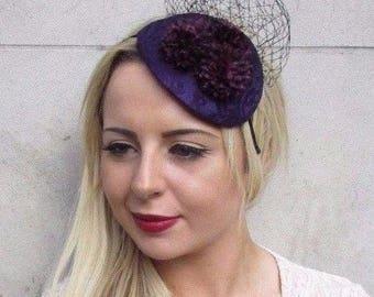 Dark Purple Black Flower Fascinator Hair Headband Wedding Races Teardrop 3773