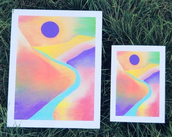 Indigo Sun • Chalk Pastel Art Print