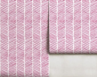 Watercolor Herringbone / Juneberry // Removable or Traditional Wallpaper