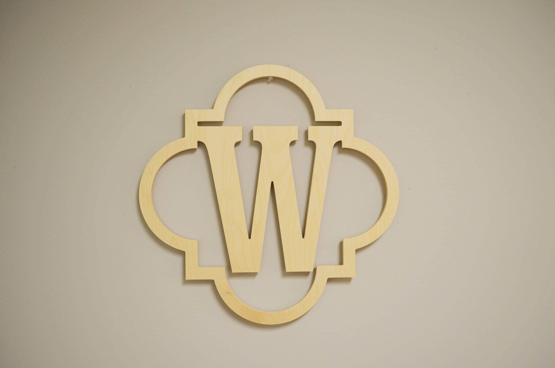 Quatrefoil Monogram, Wooden Initial, Wooden Letter, Wall Decor ...