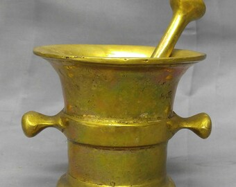Vintage solid brass mortar and pestle apothecary