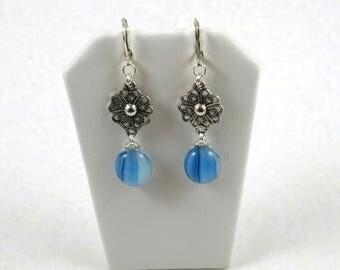 Sky Blue Fused Glass Fancy Flower Dangle Drop Earrings (Item #441)