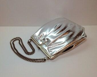 Silver Evening Purse, Vintage Mardane Silver Lame' Evening Purse, Silver Lame' Silver Clasp and Silver Chain, Vintage Evening Purse, Silver
