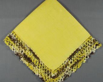 Crocheted Lace Border on bright Yellow Linen VINTAGE Hankie Handkerchief