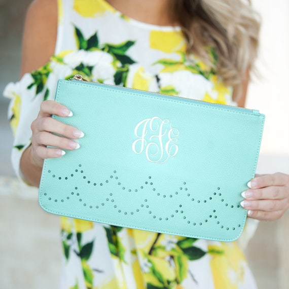 Monogrammed Clutch Mint Handbag Seafoam Green Purse Monogrammed Bag Aqua Personalized Clutch Bridesmaids Gifts Weddings Highway12Designs
