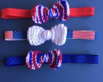 Elastic Headband, Fourth of July, Fourth of July Accessories, Red White and Blue, Headband, Bow, USA, Independence Day, July 4th