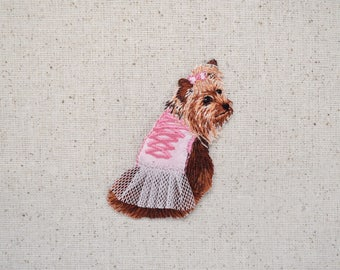Yorkshire Terrier - Pink Tutu - Puppy Dog - Yorkie - Embroidered Patch - Iron on Applique - 1511761-Z