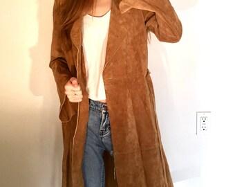 Vintage Leather Jacket Trench Coat Bisou Bisou Michele Bohbot Festival Boho Jungalow Rustic Hipster Suede Belted Size Medium Women