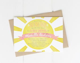 Sunshine Baby Shower Invitation, You Are My Sunshine Invite Pink U0026 Yellow  Sun A Little