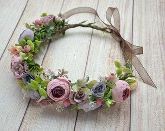 Boho flower crown Rustic flower crown Bridal head wreath Bridal flower crown Bridal headpiece Wedding head wreath Wedding headpiece Gift
