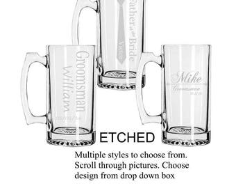 Personalized Etched Groomsmen Beer Mugs, Custom Groomsmen Beer Mugs, Unique Groomsmen Mugs, Beer Mug Glasses, Etched Mugs