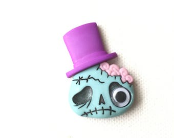 Zombie Pin, Zombie Tie Tack, Zombie Brooch, Zombie Monster Pin, Monster Pin, Zombie with Top Hat Pin, Halloween Lapel Pin
