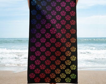 Rainbow Pentacles Cheeky Witch® Wiccan Beach Towel