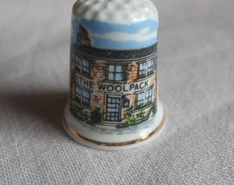 Vintage THE WOOLPACK Pub Birchcroft Fine Bone China Thimble, Made in England