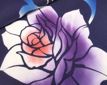 Dark blue indigo cotton yukata fabric with lavender and yellow roses - by the yard
