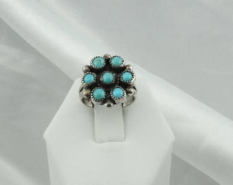 Traditional Southwest Native American Sterling Silver Turquoise Cluster Ring  #CLUSTERT-SR2