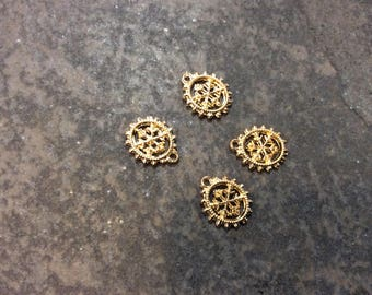 Small Gold Snowflake charms Package of 4 Gold Finish highly detailed double sided Christmas Charms great for Adjustable Bangle bracelets