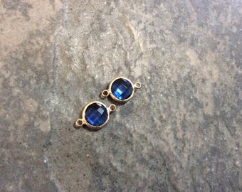 Sapphire blue bezel set faceted glass connector charms Package of 2 gold finish charms