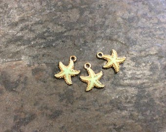 Gold Starfish charms with mint green  enamel finish Package of 3 charms Beach theme charms