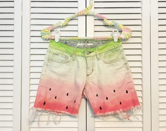 Watermelon tie-dyed upcycled shorts!