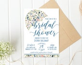 Bridal Shower Invitation, Umbrella Bridal Shower Invite, Pretty Bridal Shower Invite, Printable Bridal Shower Invite, Floral Shower [717]