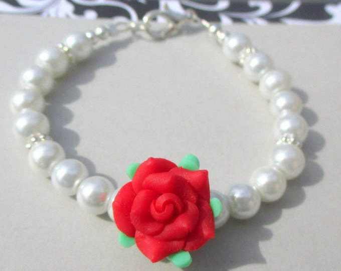 Flower Girl Jewelry-Flower Girl Bracelet-Little girls pearls-Red rose-Childs Pearl Jewelry Set-Childrens Pearls-Clay