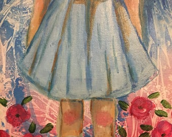 Alice in wonderland Dorothy wizard of oz poppies original painting acrylic wall art kids room decor