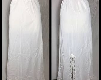 White Nylon Maxi Slip with Lace Trim and Back Slit - Size Small