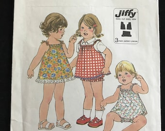 Simplicity 8048 - 1970s Toddler's Jiffy Dress or Jumper and Bloomers - Size 2 Chest 21