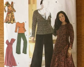 Simplicity 3699 - Khaliah Ali Dress with Shaped Midriff, Top with Empire Waist, Wide Legged Pants, and Flared Skirt - Size 18 20 22 24