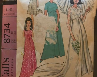 McCalls 8734 - 1960s Wedding Dress or Bridesmaids Dress in Two Lengths and Jacket - Size 12 Bust 32