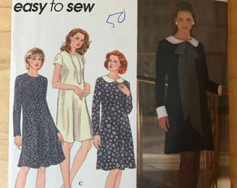 Simplicity 9753 - Easy to Sew Slightly Flared Knee Length Dress with Peter Pan Collar and Scarf Options - Size 12 14 16