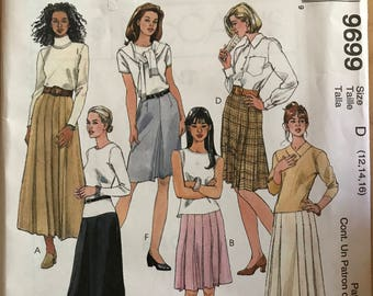 McCalls 9699 - Fashion Basics A-Line Skirts with Pressed and Partially Stitched Pleat Variations in Knee or Maxi Length - Size 12 14 16