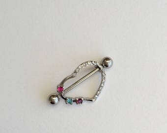 Set of ( 2 ) CZ Heart Silver Nipple Ring.