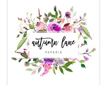 Pre-made Logo Design | Watercolor Logo | Photography Logo | Watermark | Wreath Logo | Branding Package | Business Branding | Floral Logo