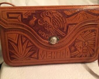 1970s vintage embossed leather purse