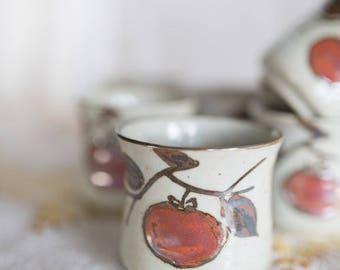 Vintage Ceramic Glazed Apple Tumblers Set of 6