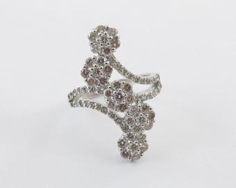 Diamond Ring Flower Design Cocktail Anniversary 14k White Gold  1 1/2 carats