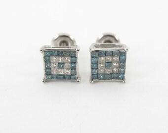 Men's 14K White Gold Blue Diamond Screw Back Stud Earrings 1.00 carat