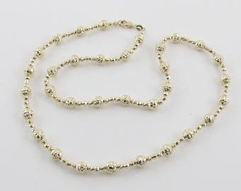 "14K Yellow Gold Brilliant Diamond Cut Ball Bead Necklace 20"" 14.8 grams"