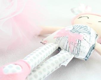 Handmade Doll - Cloth Doll - Fabric Doll - Heriloom Doll - Rag Doll - Doll with Tutu - First Birthday Gift