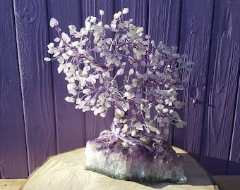 Amethyst Gem Tree, Rose Quartz Chips, Moonstone, Crystal Healing, Wrapped Wire, Spiritual Gift, Metaphysical Decor, Semi-precious Stones