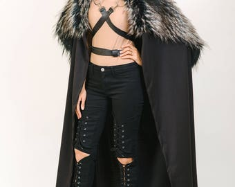 Black Cape Fur Collar Leather Straps, Game of Thrones Cloak, Game Of Thrones Cosplay