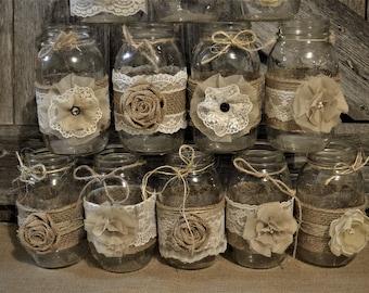 Mason Jar Wedding Centerpieces, Burlap Wedding Decorations, Rustic Wedding Centerpieces, NO jars, Burlap and Lace Wedding, Bridal Shower