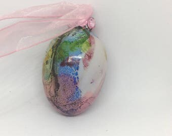 Pink, Green, Yellow Blue Hand Painted Glass Easter Egg Ornament  Rhinestones Ribbon