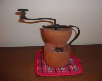 Antique wood kitchen grinder - RARE