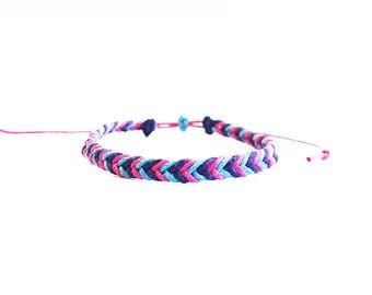 Bisexual Pride Bracelet, Gay Pride Jewelry, Wax Cord Bracelet, LGBT Bracelet, Festival Jewelry, Beach Bracelet, Friendship Bracelet, LGBTQIA