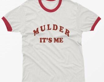 Mulder it's me tshirt graphic tshirts tumblr shirt ringer tee clothing gift for women t-shirts